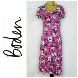 Boden Short Sleeve Floral Print Knit Dress 8L